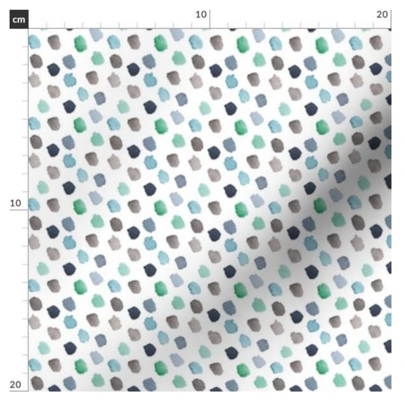 Stoff, Punkte, watercolor blau grün grau