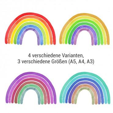 Regenbogen, Artprint, 4 verschiedene Varianten, 3 verschiedene Größen