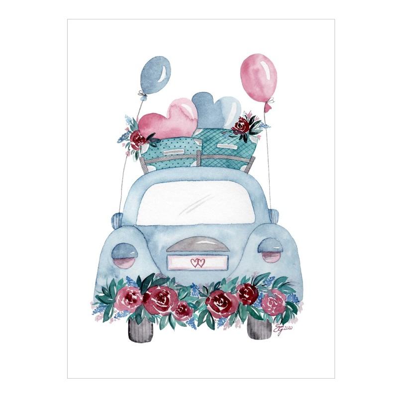 Hochzeitsauto mit Blumen und Ballons