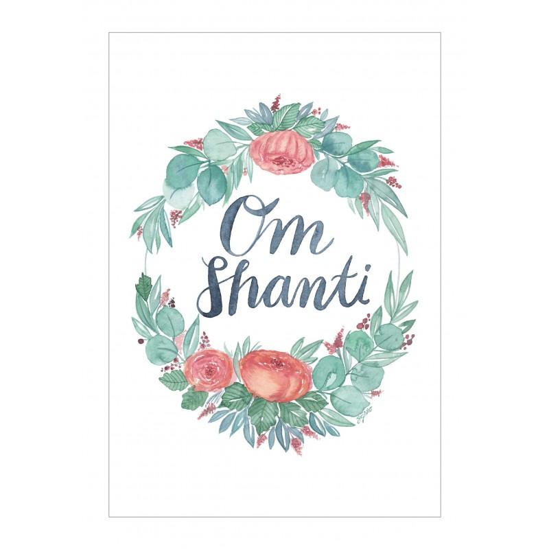 Kunstdruck A3, A4 oder A5, Blumenkranz und Mantra Om Shanti