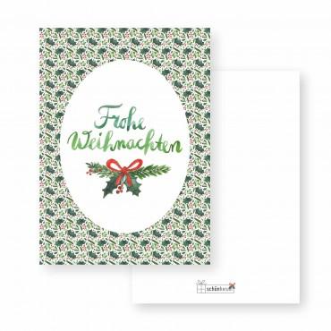 Postkarte, Frohe Weihnachten, Ilex und Mistel, A6, Vorder- und Rückseite