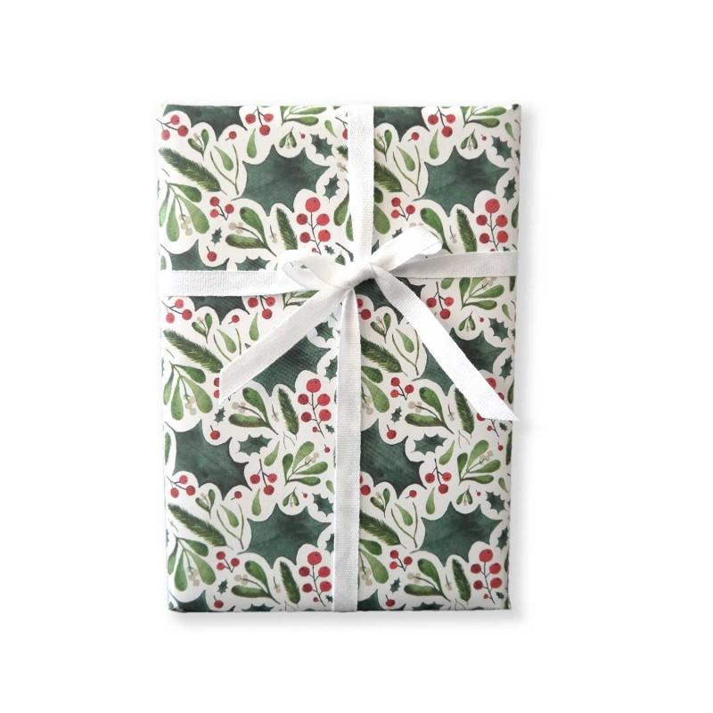 Geschenkpapier, Ilex und Mistel, Weihnachten, grün, rot, 1 Bogen, 50 x 70 cm