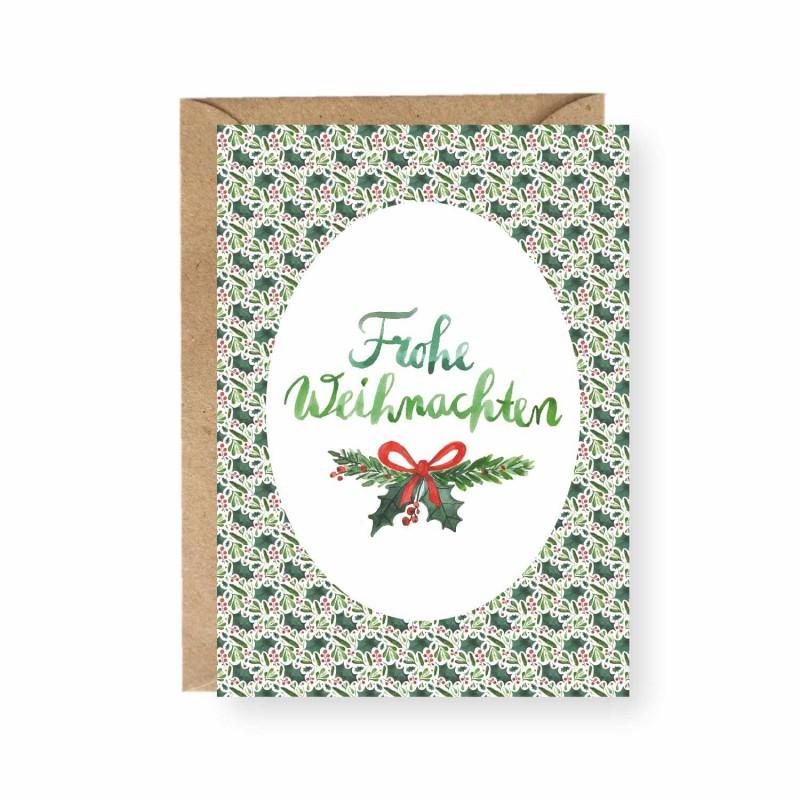 Postkarte, Frohe Weihnachten, Ilex und Mistel, A6, mit Umschlag