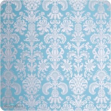 Geschenkpapier Gobelin / silber und blau / 50 x 70 cm