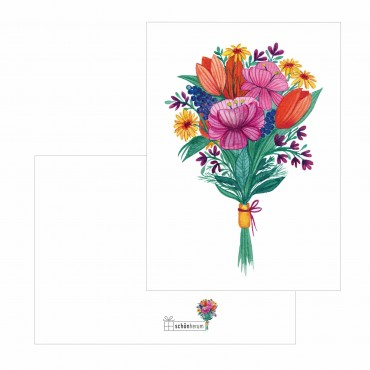 Postkarte, A6 Format, bunter Blumenstrauß, 300 g Naturpapier
