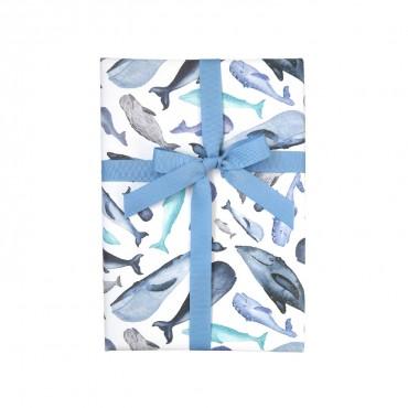 Geschenkpapier, Wale, Walfische, blau, 1 Bogen, 50 x 70 cm