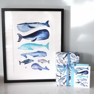 Es ist immer gut mehrere Wale zu haben. Walefische Artprint