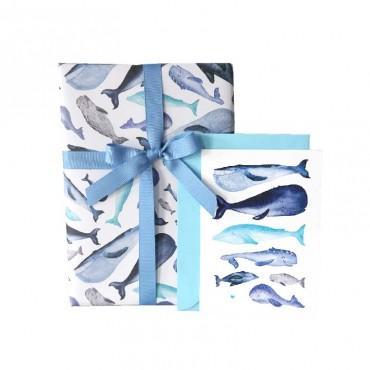 Postkarte, Walfische mit Herz, A6, mit Briefumschlag, passendes Geschenkpapier