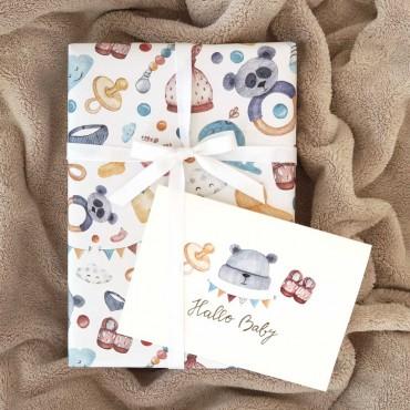 Geschenkpapier, Baby neutral, bunt, 1 Bogen, 50 x 70 cm, passende Karten erhältlich