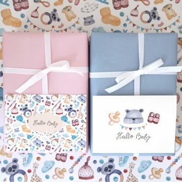 Geschenkpapier und Karten zur Geburt, Hallo Baby