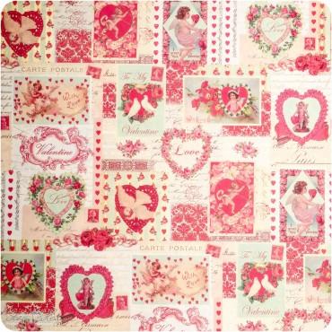 Geschenkpapier Happy Valentine / rosa-rot / 50 x 70 cm