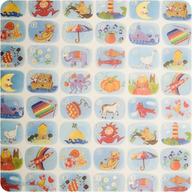 Geschenkpapier Kinder-ABC / bunt / 50 x 70 cm
