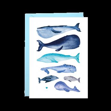 Postkarte, Walfische mit Herz, A6, mit Briefumschlag
