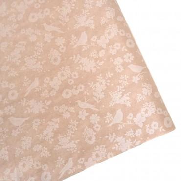 Seidenpapier, kraftbraun, Muster in weiß, Blumen und Vögel, farbecht