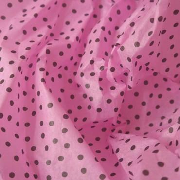 Seidenpapier, rosa pink, schwarze Punkte, 5 Bögen, 50 x 70 cm