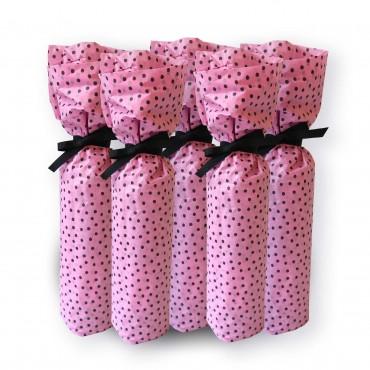 Seidenpapier, rosa pink, schwarze Punkte, 5 Bögen, 50 x 70 cm, Flaschen leicht verpacken, Geschenkband nicht im Lieferumfang