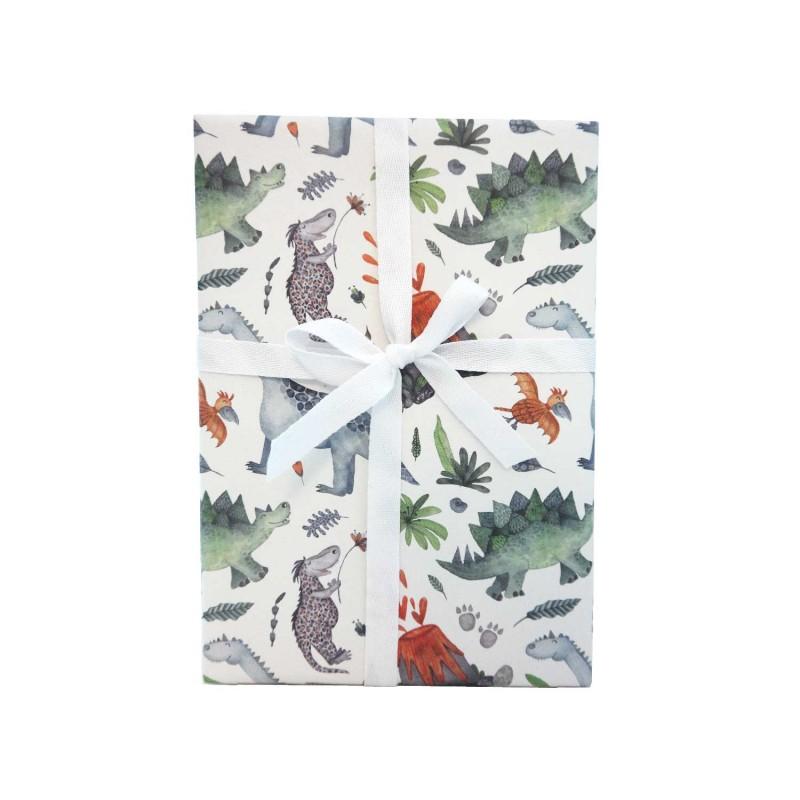 Geschenkpapier, Dinosaurier, bunt, glücklich, außergewöhnlich, 1 Bogen, 50 x 70 cm