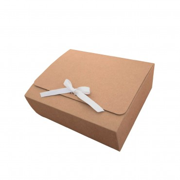 Geschenkbox mit Schleife, 20 x 25 x 8 cm, außen kraftbraun / innen weiß, Faltschachtel