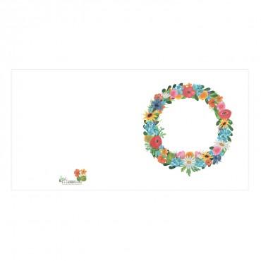 Klappkarte, Blumenkranz, Wiesenblumen, quadratisch, 14,8 x 14,8 cm, mit Umschlag, aufgeklappt