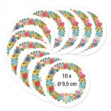 Aufkleber XXL Blumenkranz, 10x, Durchmesser 9,5 cm, Papier beschreibbar