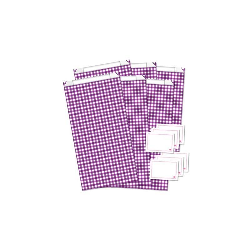 Geschenktüten mit Etiketten / Vichy Karo / Lila