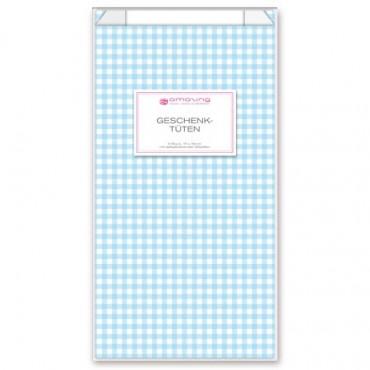 Geschenktüten mit Etiketten / Vichy Karo / Babyblau