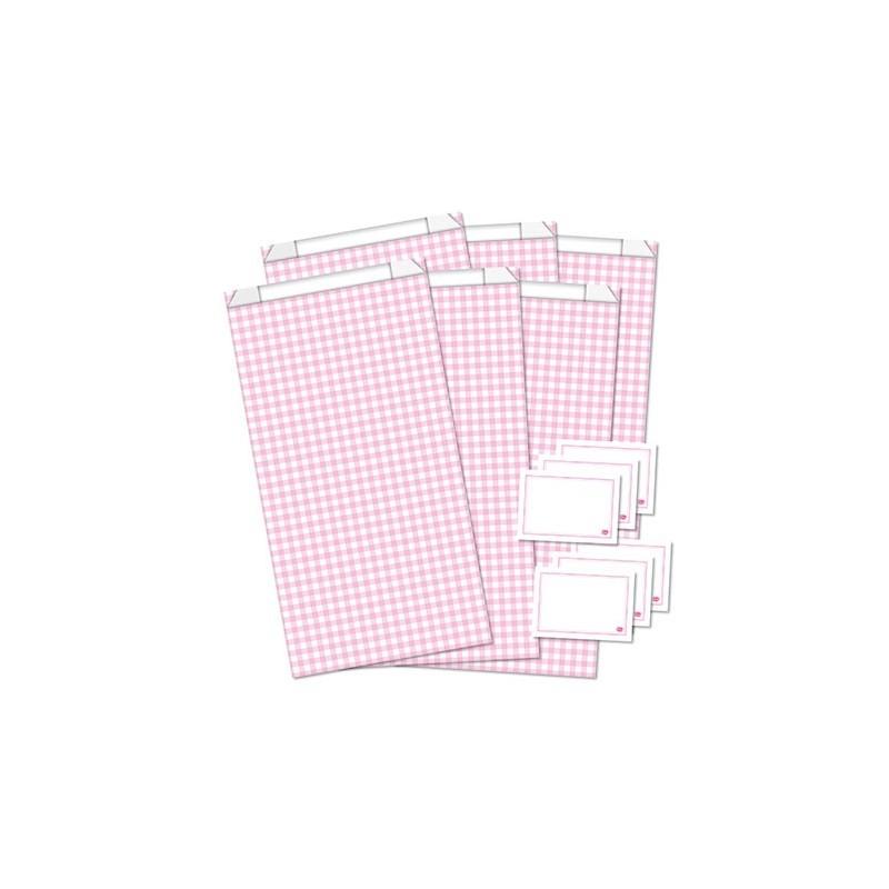 Geschenktüten mit Etiketten / Vichy Karo / Rosa