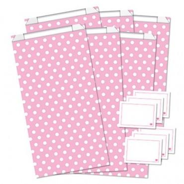 Geschenktüten mit Etiketten / Polka Dots / Rosa