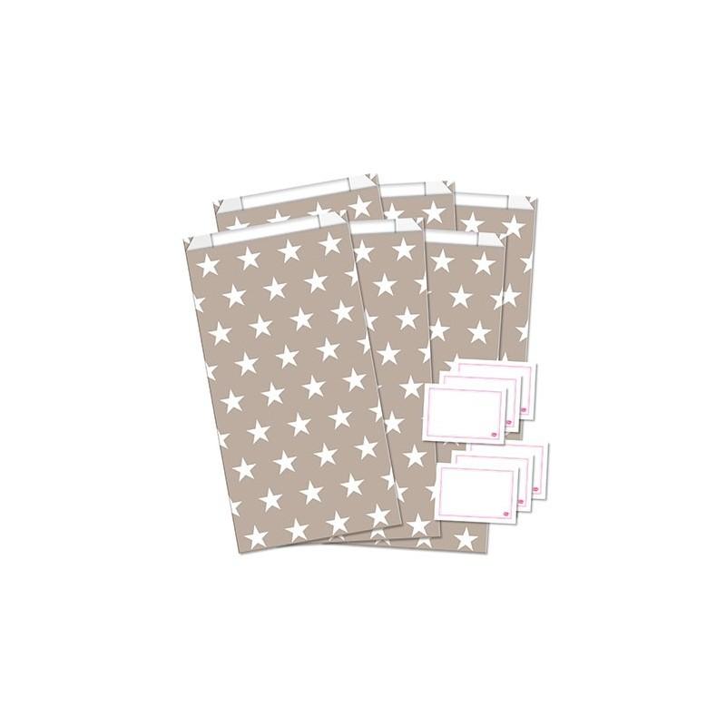 Geschenktüten mit Etiketten / Streifen / Sand