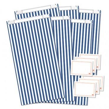 Geschenktüten mit Etiketten / Streifen / Dunkelblau