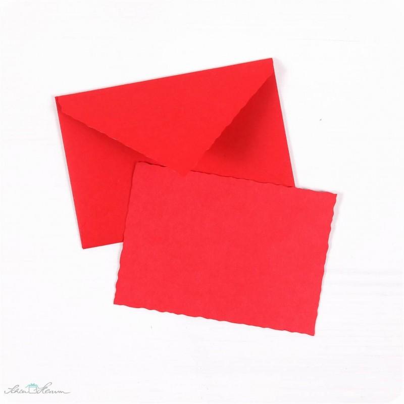 Karte & Umschlag / klein / feuerrot