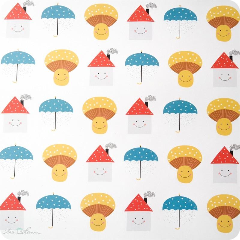 Geschenkpapier Schirm, Pilz, Haus