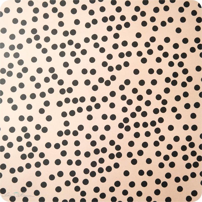 Geschenkpapier nude, schwarze Punkte