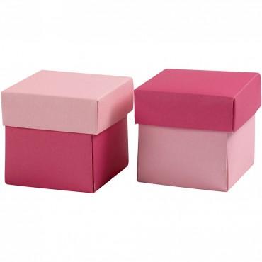 Faltschachtel mit Deckel, rosa & pink / 5,5 x 5,5 x 5,5 cm