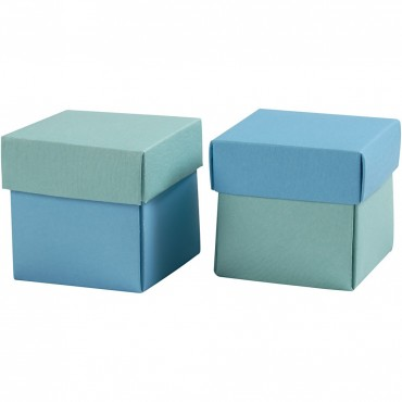 Faltschachtel mit Deckel, blau / türkis / 5,5 x 5,5 x 5,5 cm