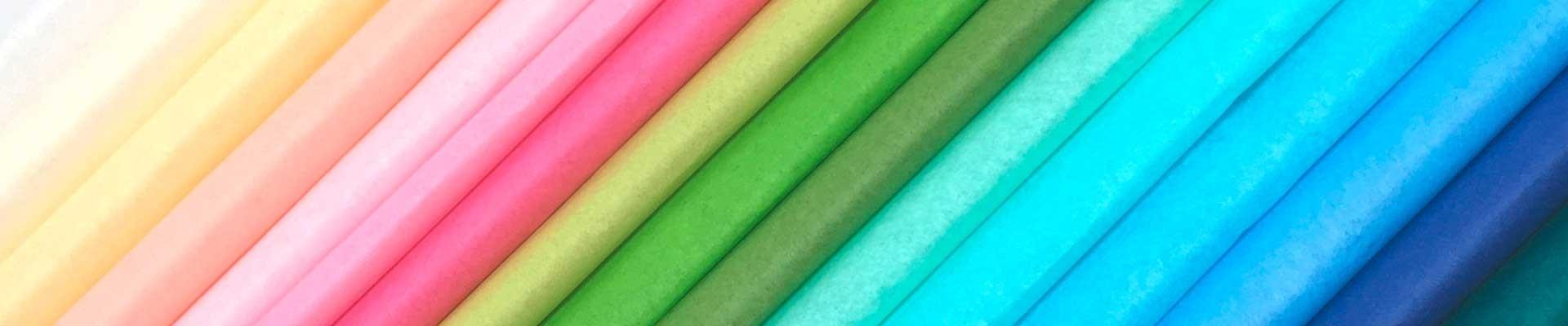 Farbechte Seidenpapiere in verschiedenen Unifarben.